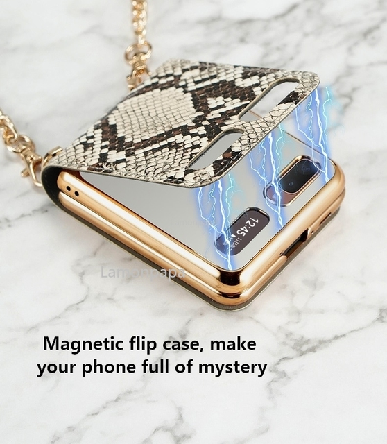 Luxury Case for Samsung Z Flip 5G Magnetic Mirror Fold Phone Case with Chain Strap Shockproof Cover for Samsung Z Flip Case 3