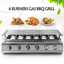 Smokeless Outdoor BBQ Steel Grill 6 Burner LPG Gas Liquid Propane Portable Stove Party Infrared Heavy Duty Glass