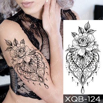 Waterproof Temporary Tattoo Sticker Snake Flower Rose Flash Tattoos Lace Fox Lion Tree Body Art Arm Fake Sleeve Tattoo Women 4
