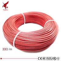 100m 12k 33ohm fibra de carbono de borracha de silicone cabo de aquecimento 5 v-220 v piso aquecimento infravermelho de alta qualidade fio de aquecimento