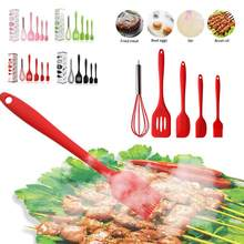 5 pçs conjunto de utensílios de cozinha de silicone batedor de ovo espátula entalhada turner antiaderente utensílios de cozinha ferramentas de cozimento verde rosa