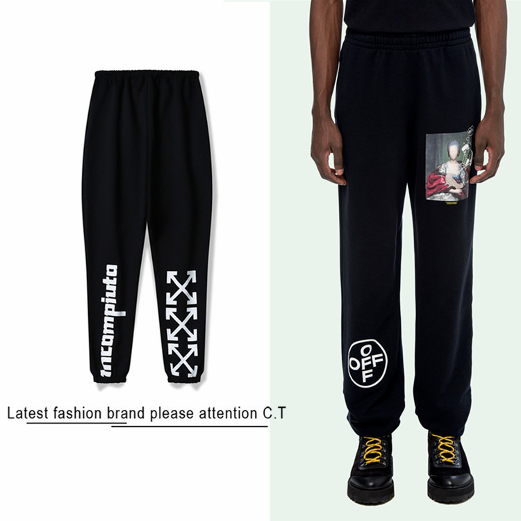 2019 Autumn And Winter Ow Pure Cotton Plus Velvet Casual Sweatpants Unfinished Beam Leg Trousers Pack