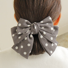 2019 Three-layered Large Hair Bows for Women Girls with French Clips Autumn Sweet Dot Bowknot Hairgrips Elegant Accessories
