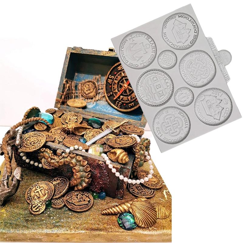 Treasure Coins Silicone Mold Fondant Cakes Decor Tools Silicone Mould Sugarcraft Chocolate Baking Tools For Cakes Gumpaste Fimo