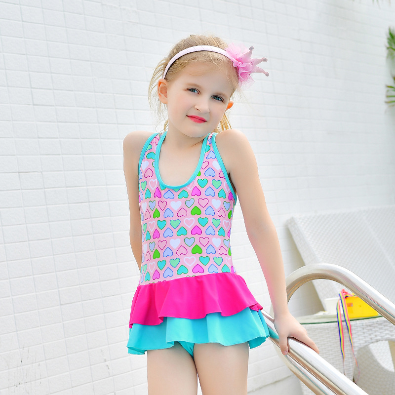 2017 New Style KID'S Swimwear Children Girls 1-9-Year-Old Cake Dress-One-piece Swimming Suit
