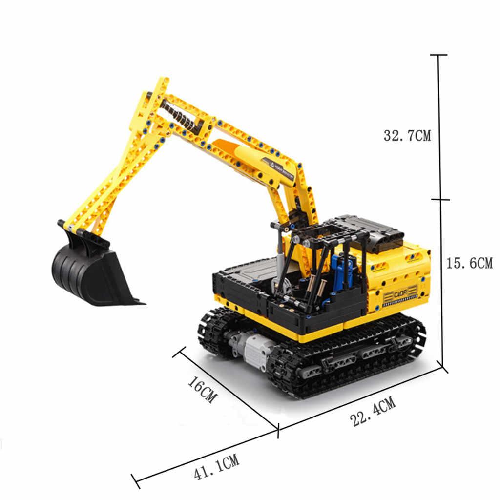 2.4G Pista Veículo Escavadeira DIY Brinquedos de Blocos de Construção Tijolos RC Simulação Carro
