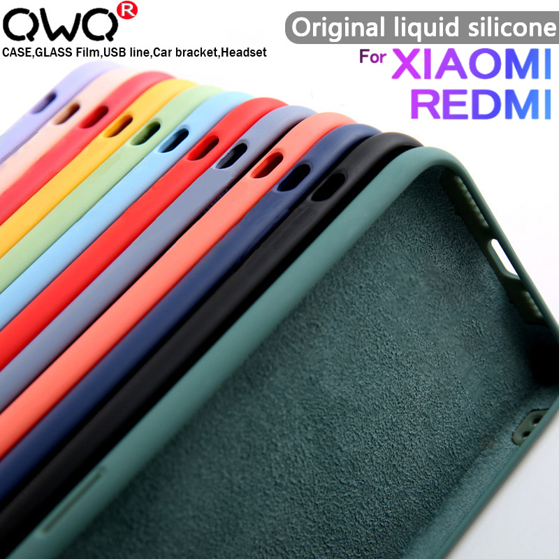 Original velvet Liquid Silicone Case For Xiaomi mi 9 9SE 10 A3 Note 10 Lite Redmi Note 6 7 8 K30 9T 9S 9 PRO Mi9 Case Back Cover(China)
