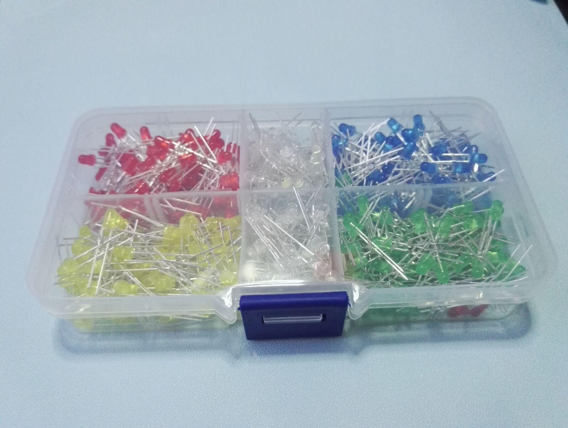 1 коробка, 500 шт., светодиод 3 мм = 5 цветов * 100 шт., желтый, белый, красный, зеленый, синий, 5 значений, смешанные цвета, светодиод высокой яркости, ...