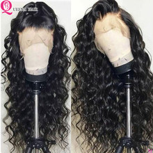 Perruque Lace Frontal wig 360 péruvienne naturelle Remy | Loose Deep Wave, cheveux humains, pre-plucked, noir naturel, 13x6(China)