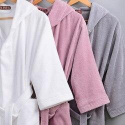 Winter Männer Bademantel Mit Kapuze Frauen Herbst Dicke Warme Handtuch Baumwolle Dressing Kleider Lange Bad Robe Hotel Spa Weichen Kimono Robe