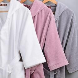 Winter Men Bathrobe Hooded Women Autumn Thick Warm Towel Cotton Dressing Gowns Long Bath Robe Hotel Spa Soft Kimono Robe