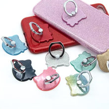 Universal Glitter Kitty Finger Ring Holder Mobile Phone Holder For iPhone Samsung Huawei Smartphone Stand(China)