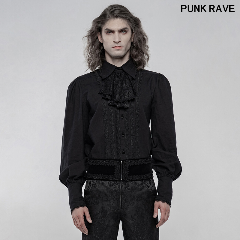 Gothic Men Gorgeous embroidery Long Sleeve Shirt palace Vintage Removable Bow Tie Banquet club Blouses PUNK RAVE WY-1246CCM