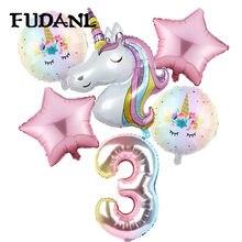 6 pçs arco-íris gradiente unicórnio festa balão 32 polegada número decorações da festa de aniversário crianças unicórnio festa de casamento balões globos