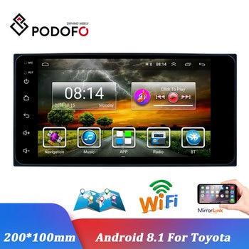 Podofo Android 7'' Autoradio 2 Din GPS Navigation Car Radio Multimedia Video Player Buletooth Mirror Link Auto Stereo For Toyota