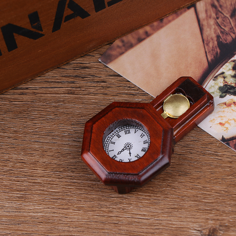 1Pcs Dollhouse Wood Vintage Red Clock 1/12 Scale Dollhouse Miniature Toy Pretend Play Furniture Toy Baby Kids Diy Toys
