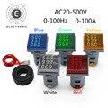 22mm Platz LED Digital Voltmeter Amperemeter Hertz Meter AC60-500V Signal Lichter Spannung Strom Frequenz Combo Meter Anzeige