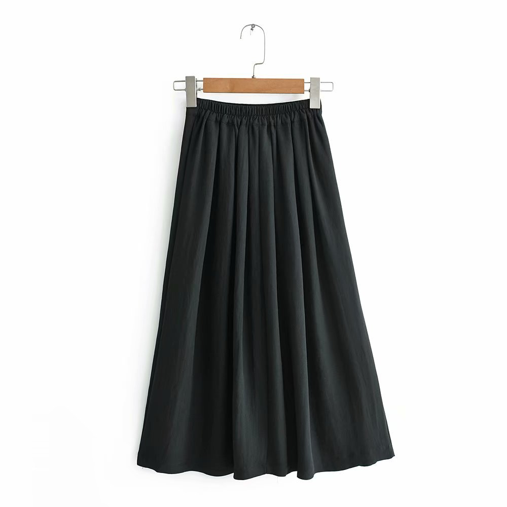 C1-0265 Europe And America Elastic Waist Women's Mid-length Skirt High-waisted Pleated Skirt A- Line Skirt Summer A Generation O