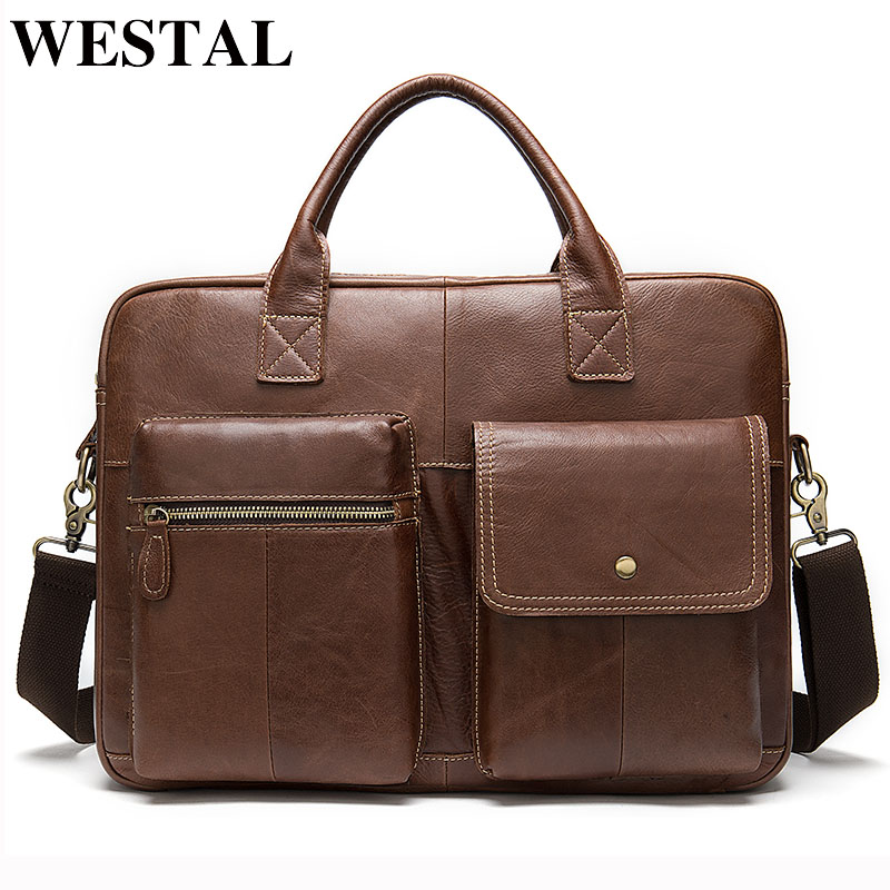 WESTAL Men's Briefcases Genuine Leather Office Bag For Men Messenger Bags Laptop Bag Leather Computer/Lawyer Briefcase Male 7212