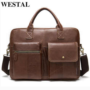 WESTAL Men's Briefcases Genuine Leather Office Bag for Men Messenger Bags Laptop Bag Leather Computer/Lawyer Briefcase Male 7212 - DISCOUNT ITEM  44% OFF All Category