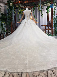 Image 5 - HTL578 detachable mantle wedding dresses big v neck spaghetti straps lace up back summer bridal gowns robe de mariee boheme