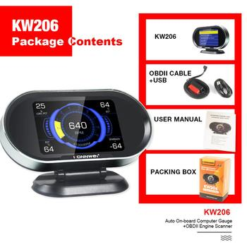 KONNWEI KW206 Hud Head-Up Display 12V Auto-Styling Hud Display Overspeed Speedometer Boost Gauge OBD2 Car Fault Scanner image