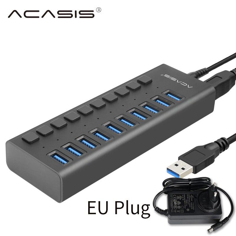 USB 3,0 концентратор 10 портов 12 В 4A адаптер питания usb-хаб 3,0 зарядное устройство с переключателем Мульти USB сплиттер USB3.0 концентратор для Macbook PC ...