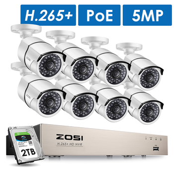 ZOSI H.265 + 8CH 5MP POE kamera ochrony zestaw do organizacji 8x5MP Super aparat IP HD zewnątrz wodoodporny nadzór wideo CCTV NVR zestaw