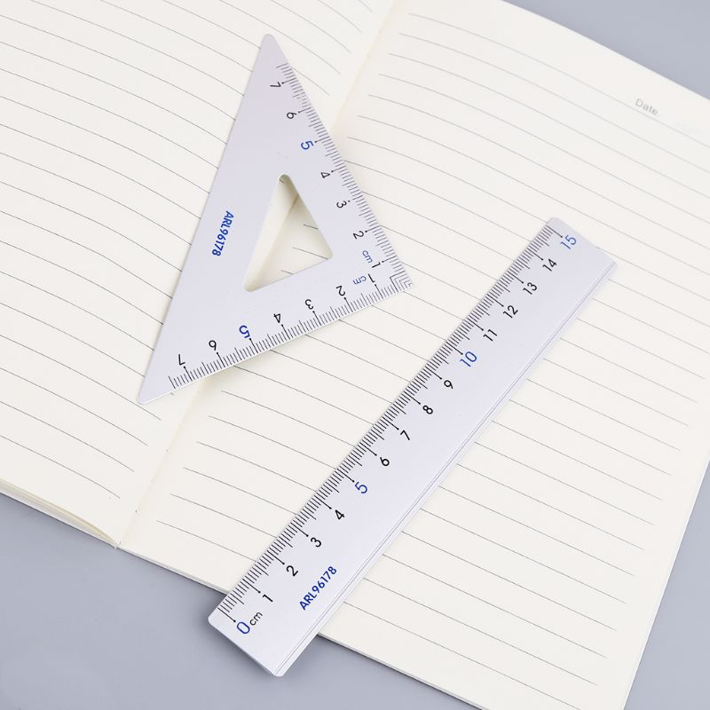 4Pcs Drawing School Supplies Set Square Triangle Ruler Aluminum Alloy Protractor