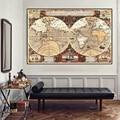 150x100cm Винтаж карта мира большой плакат Глобус нетканый холст настенная живопись Стикеры карты дома картины для украшения стен