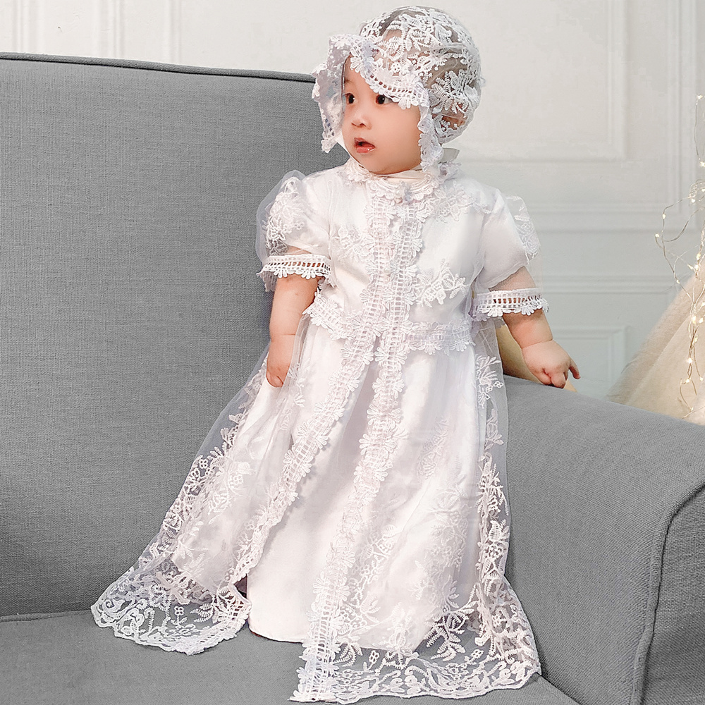 0M-30M Baby Girl /& Toddler 3 pc Christening Formal Dress for Baptism White size