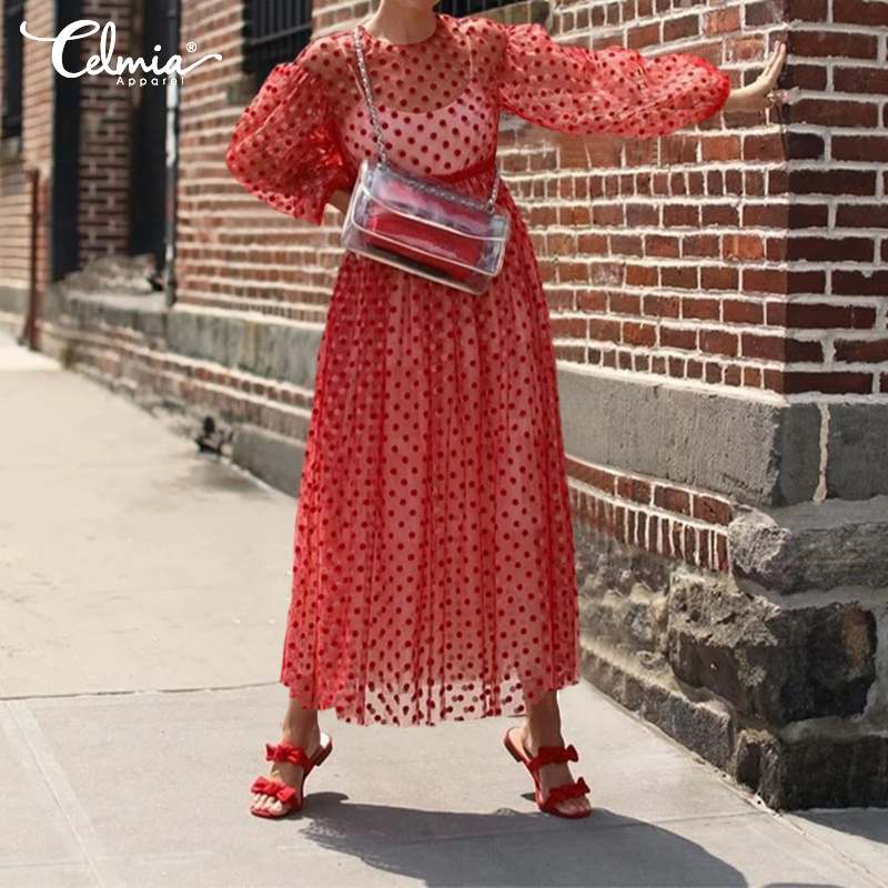 Plus Size Celmia 2019 Summer Dress Women Mesh Sheer Polka Dot Lace Maxi Dresses Long Lantern Sleeve Sexy See-through Beach Dress