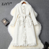 Woman Winter Tweed Woolen Coats and Jackets Fashion Runway Designer Full Sleeve Lace Up Plaid Wool Blend Long Overcoat Outerwear