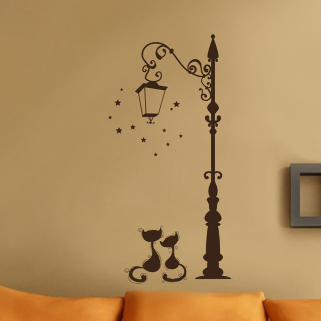 Cute Cat Fashion Lamp Post 50*20cm Wall Covered 2