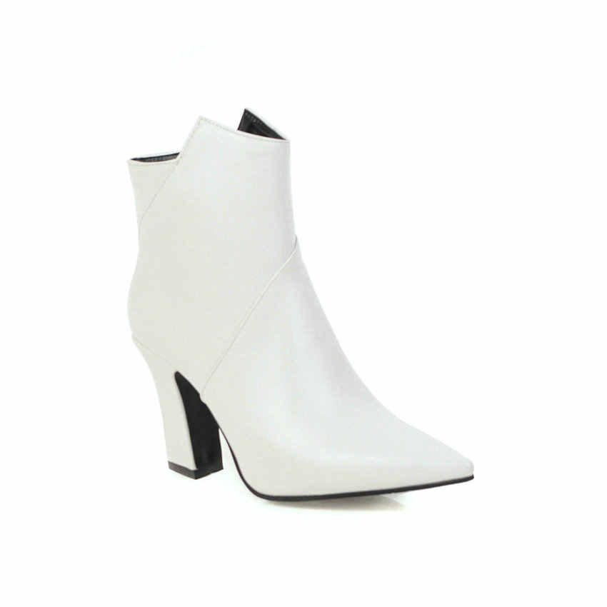 ESVEVA 2020 PU Deri Batı Tarzı Kadın Ayakkabı Kış yarım çizmeler Sivri Burun Toka Kare Yüksek Topuk Çizme Boyutu 34- 43