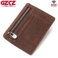GZCZ 100% Genuine Leather Slim Men Credit Card Holder Design ID Card Organizer Male Wallets Purses Mini Walet Men Coin Purses|Card & ID Holders| |  -