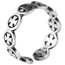 925 sterling silver vintage fashion crusader floral adjustable ring for men
