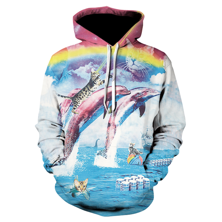 New Women's Casual Hoodie Hot Seller 3D Printed Rainbow Double Jumper Dolphin Long Sleeve Sweatshirt