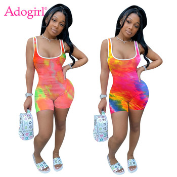 Adogirl Women Tie dye Print Casual Patchwork Jumpsuit Fashion Sleeveless Tank Romper Shorts Home Tracksuit Night Club Playsuit adogirl women tie dye print camisole two pieces set fashion casual sleeveless crop top shorts tracksuit summer fitness outfits