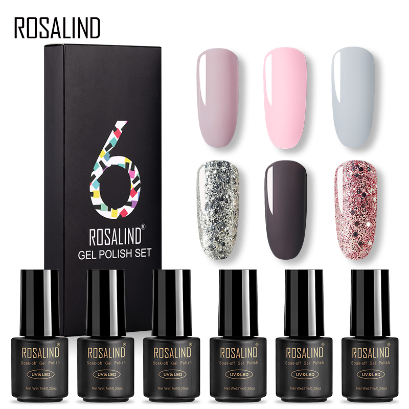 ROSALIND Gel Nail Polish 6PCS Set Hybrid Varnish All For Manicure Platinum Gel Lacquer UV LED Lamp 7ml Nail Set & Kit Base Top