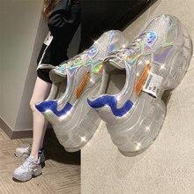 투명한 운동화 여성 하라주쿠 숙녀 플랫폼 젤리 신발 레이저 캐주얼 신발 여성 빛나는 운동화