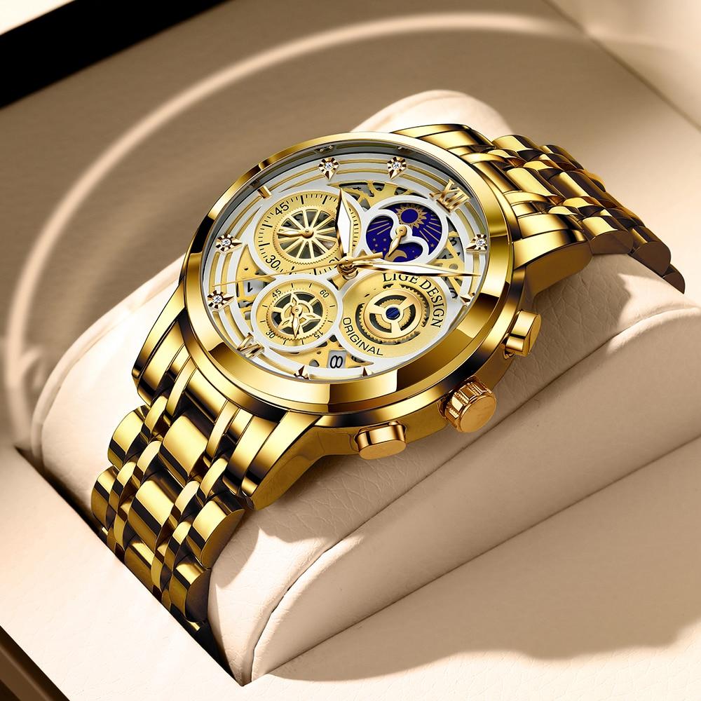 2021 Nieuwe Luik Sport Mannen Horloge Top Brand Luxe Goud Roestvrij Staal Quartz Wrsit Horloge Mannen Mode Holle Waterdicht Chronograaf 1