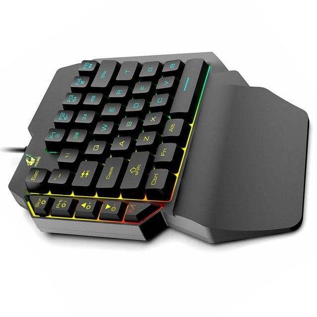 Waterproof Left Hand Colorful One Handed Keyboard God Throne Left Hand Mechanical Feel Game Keyboard