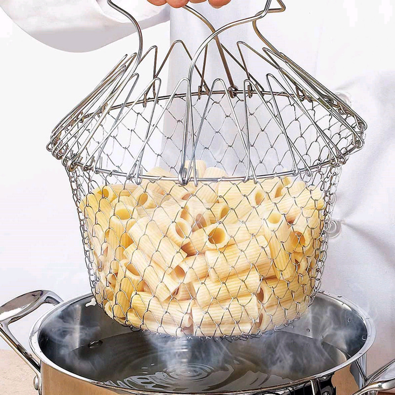 1PC Foldable Steam Rinse Strain Fry Oil Fry Chef Basket Mesh Mesh Basket Strainer Net Kitchen Cooking Tool|Colanders & Strainers|   - AliExpress