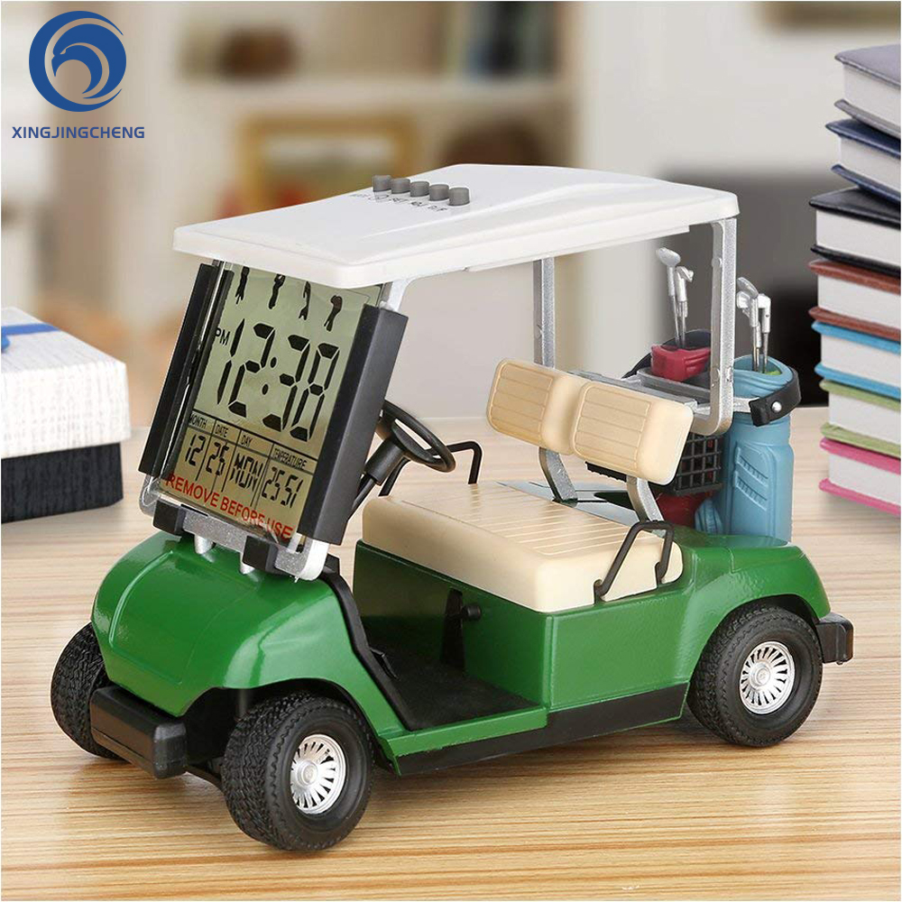 LCD Display Mini Golf Cart Clock For Golfer Race Fans Souvenir Unique Golf Gift Daddy Father Birthday Boss Office Desk Decor