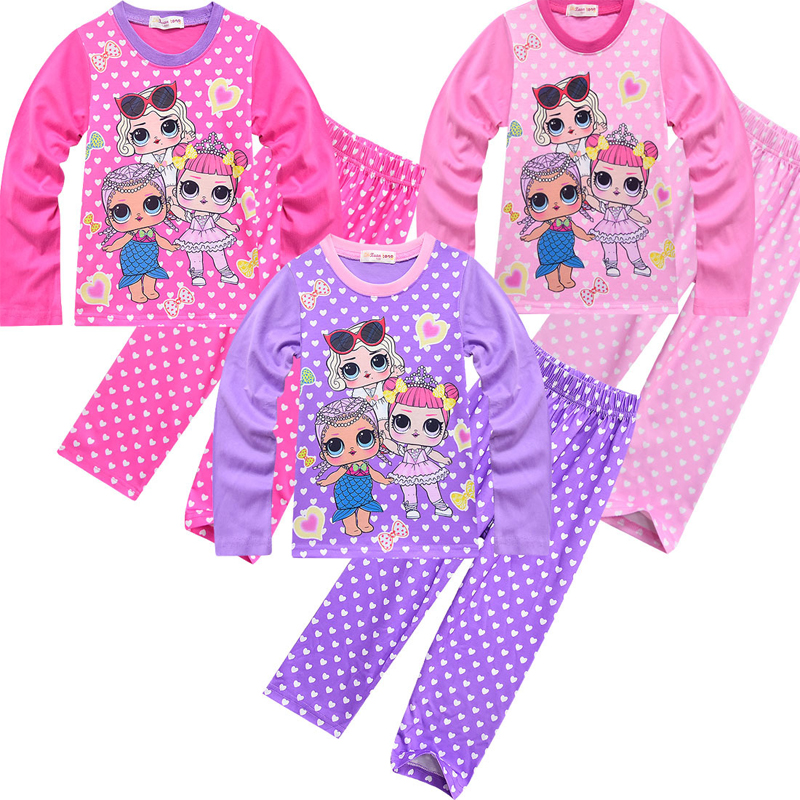 Toddler Girls Pyjamas 2019 Lol Pyjamas Baby Kids Loose Sleepwear 100% Cotton Long Sleeve Cartoon Lol Doll   Pajamas     Sets   for Girls