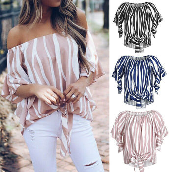 Fashion Women Sexy Off Shoulder Ruffles Short Sleeve Striped Bardot T-shirt Top Ladies Puff Sleeve Bow Bandage Blouse цена 2017