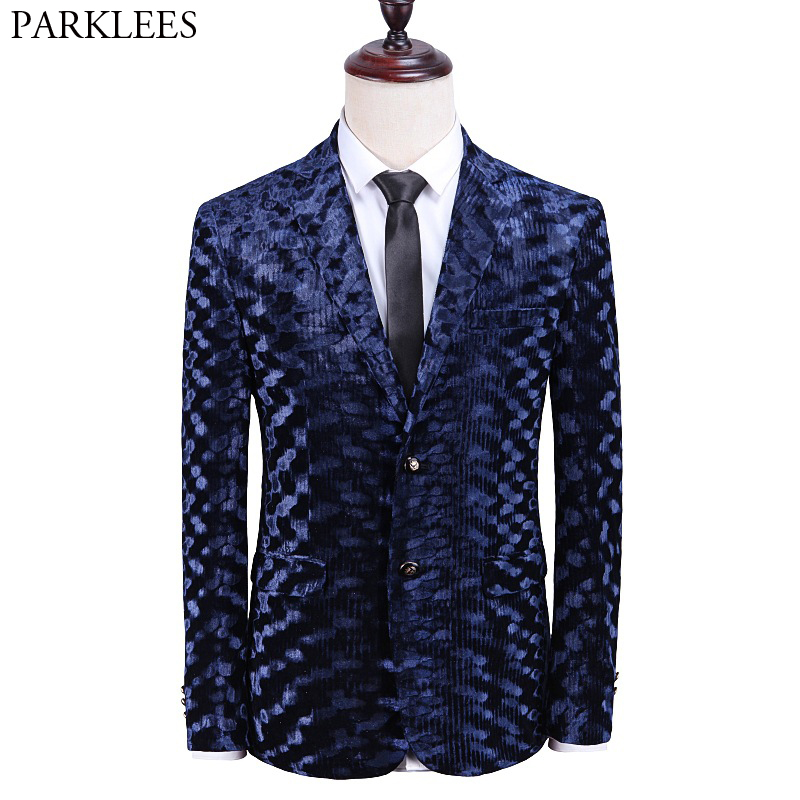 Luxury Brand Velvet Suit Jacket Men 2019 Stylish Wave Pattern Deluxe Dress Blazers Men Party Wedding Dinner Tuxedo Costume Homme