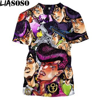 LIASOSO Anime 3D Print T Shirt Men Women Harajuku JoJo's Hip Hop Bizarre Homme Adventur T-shirt Rock Shirts Homme Tshirt E835 1