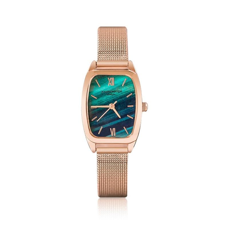 Elegant Rectangle Ladies Watches Magical Dial Design Women Fashion Quartz Watch Luxury Rose Gold Steel Mesh Strap Woman Clock